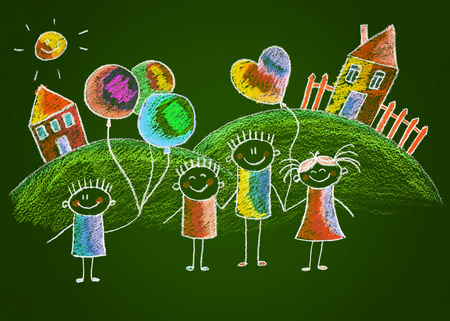 chalks: Green blackboard kids sketch drawing. Color chalks Stock Photo