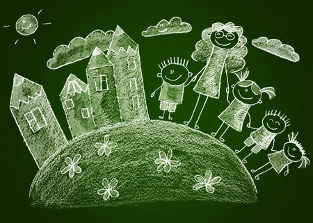 multinational: Green blackboard kids sketch drawing. White chalk Stock Photo