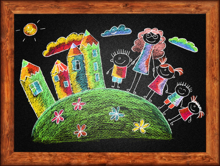 Black blackboard with frame and kids drawing. Color chalks photo