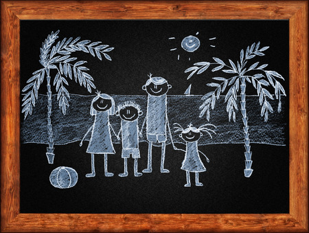 white chalks: Black blackboard with frame and kids drawing. White chalks Stock Photo