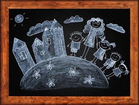 white chalks: Black blackboard with frame and kids drawing. White chalks Foto de archivo