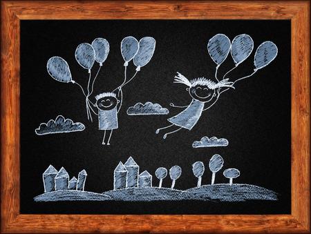 white chalks: Pizarr�n negro con marco y los ni�os a dibujar. Tizas blancas