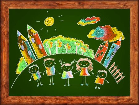 Green blackboard with frame and kids drawing. Color chalks photo