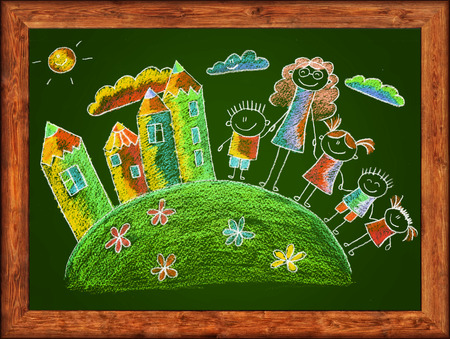 chalks: Green blackboard with frame and kids drawing. Color chalks