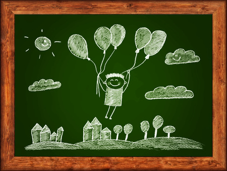 chalks: Green blackboard with wood frame and kids drawing. White chalks