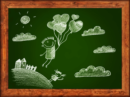 wood frame: Green blackboard with wood frame and kids drawing. White chalks