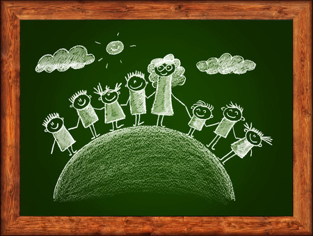 multinational: Green blackboard with wood frame and kids drawing. White chalks