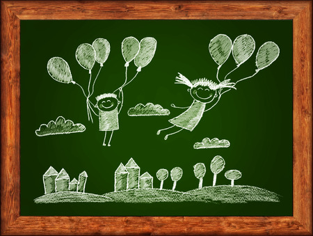 Green blackboard with wood frame and kids drawing. White chalks photo