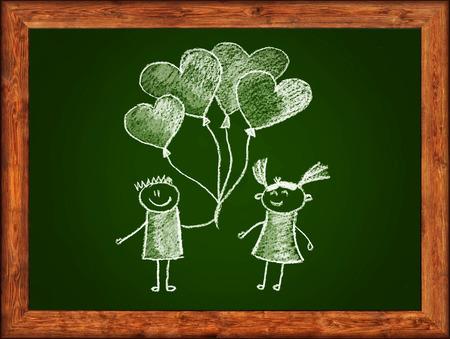 white chalks: Pizarra verde con marco de madera y dibujo ni�os. Tizas blancas