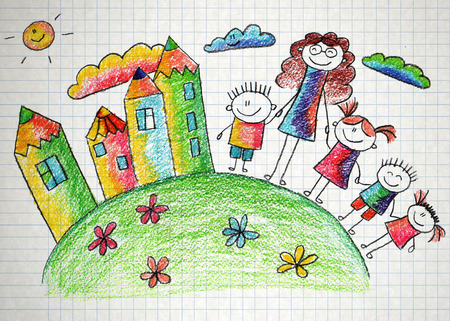 Happy kids. Colorful summer picture. Kids drawing photo