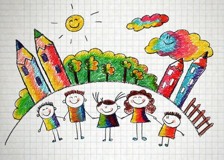 Gelukkige kinderen met leraar. Foto met zon en wolken Stockfoto