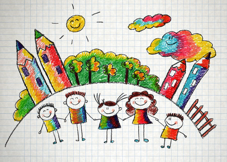 happy family house: Happy kids with teacher. Picture with sun and clouds Stock Photo