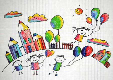 kindergarten: Happy kids play with ballons. Colorful summer picture. Kids drawing