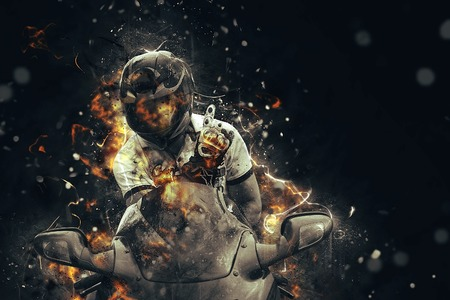 Ghost rider. Biker with motorcycle and burning fire.