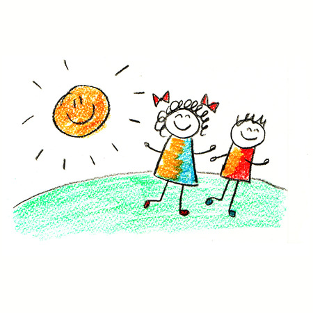 kids drawing: Colorful picture with happy kids. Kids drawing style