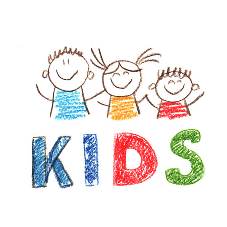 Colorful picture with happy kids. Kids drawing style