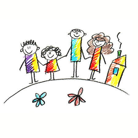 kids drawing: Colorful picture of happy family. Kids drawing style
