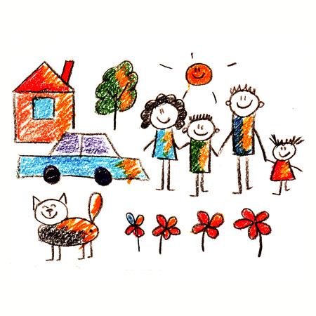 familia feliz: Cuadro colorido de la familia feliz. Drenaje de los cabritos del estilo Foto de archivo