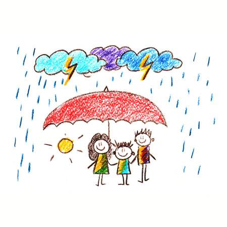 Colorful picture of happy family under umbrella. Social protection