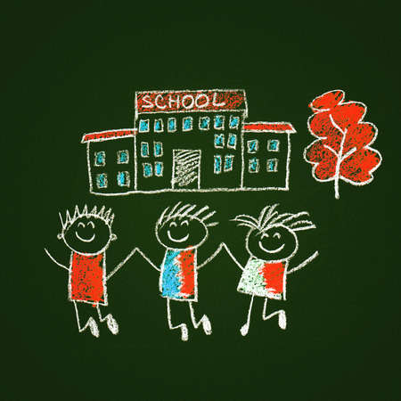 children education: Colorful picture with happy kids. Kids drawing style
