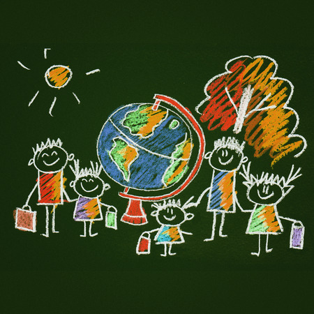 child studying: Colorful picture with happy kids. Kids drawing style