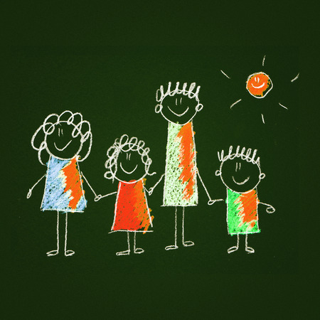 baby on board: Colorful picture of happy family. Kids drawing style