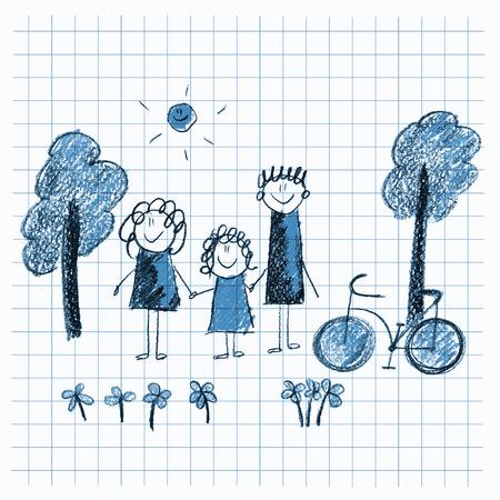 Buntes Bild Fahrrad Und Bäumen. Kinder Zeichnen Stil Lizenzfreie ...