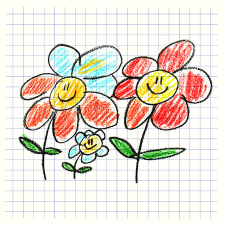 happy kids: Colorful picture with happy kids. Kids drawing style