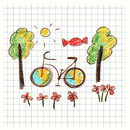kids drawing: Colorful picture bicycle and trees. Kids drawing style Stock Photo