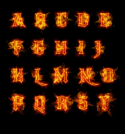 fire flame: Fire font collection. Ideal for holiday, vintage or industrial designs.