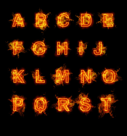 flame alphabet: Fire font collection. Ideal for holiday, vintage or industrial designs.