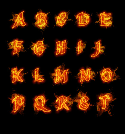 flame letters: Fire font collection. Ideal for holiday, vintage or industrial designs.