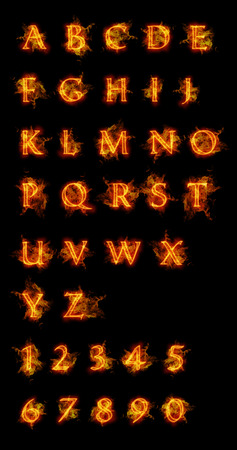 Fire font collection. Ideal for holiday, vintage or industrial designs. 免版税图像 - 43676061