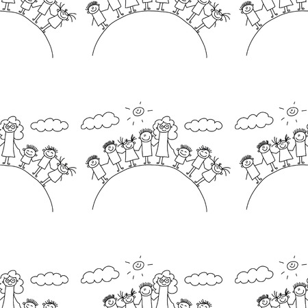 educator: Vector seamless pattern. Kids, school and education image
