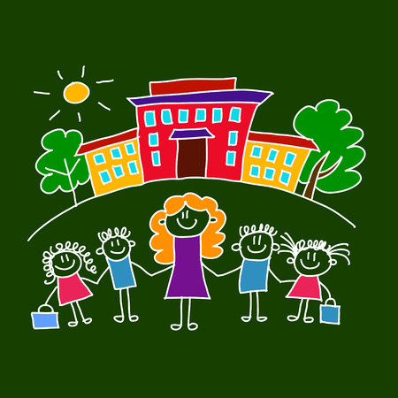 Kleurrijke naadloze vector patroon. Groene schoolbord. Kinderen tekenen stijl Stock Illustratie