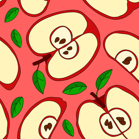 red apples: Colorful vector pattern with red apples and green leaves
