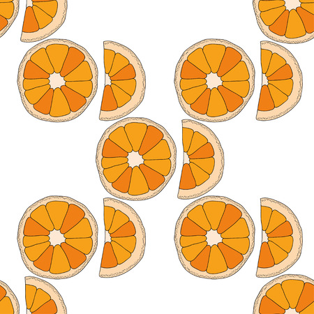 citrus fruits: Vector seamless pattern with citrus fruits. Oranges colorful background Illustration