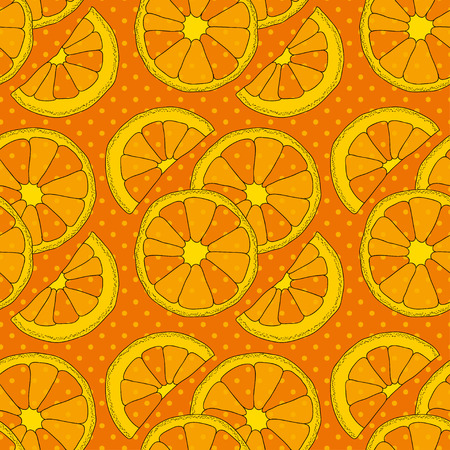 citrus fruits: Vector seamless pattern with citrus fruits. Oranges colorful background Stock Photo