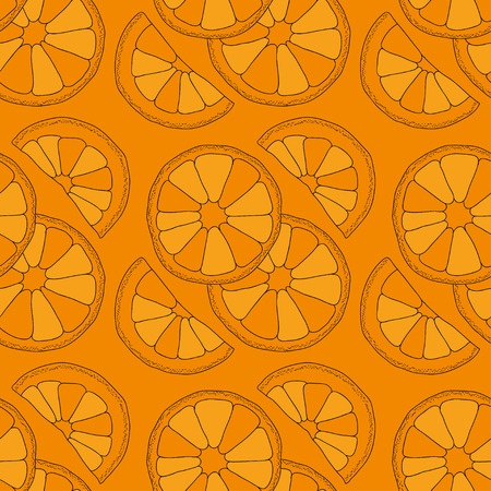 turquiose: Citrus seamless pattern. Vector oranges isolated on color background.