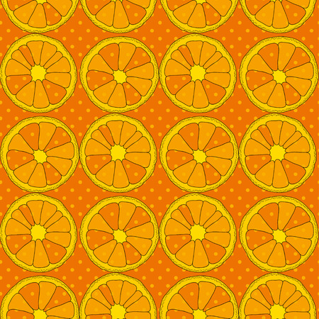 turquiose: Citrus seamless pattern. Background with oranges and dots Illustration