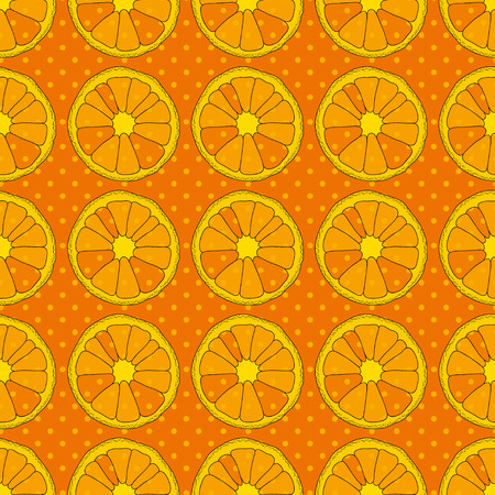 natural background: Citrus seamless pattern. Background with oranges and dots Illustration
