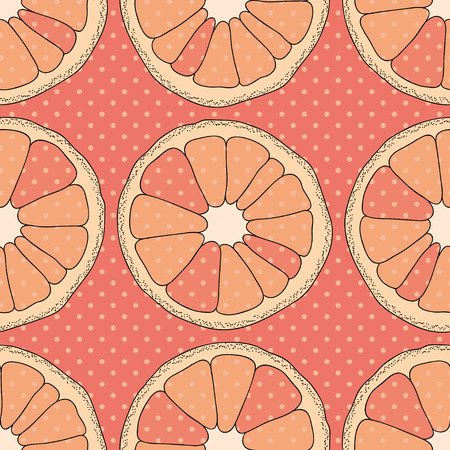 Citrus seamless pattern. Pink background with oranges and dots. Stock Illustratie