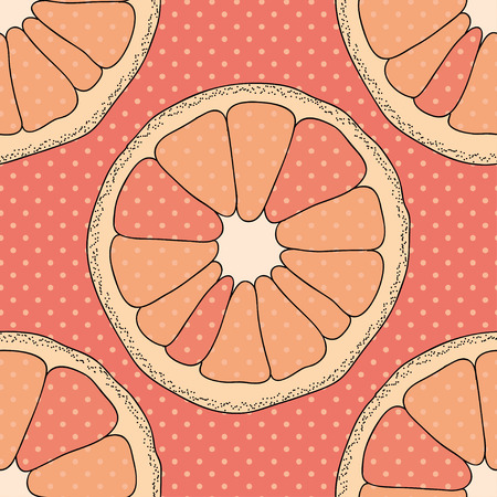 turquiose: Citrus seamless pattern. Pink background with oranges and dots. Illustration
