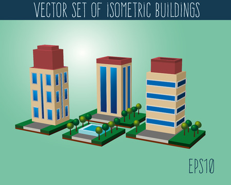 overhang: Set of isometric city buildings. Isometric icons collection Illustration