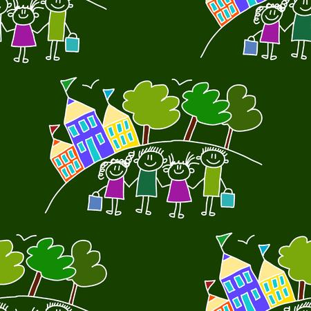 children education: Colorful seamless vector pattern. Green blackboard. Kids drawing style