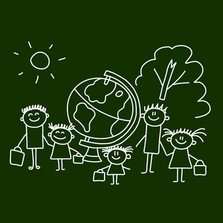 student teacher: Picture on blackboard.  Illustration of kids with teacher. Illustration