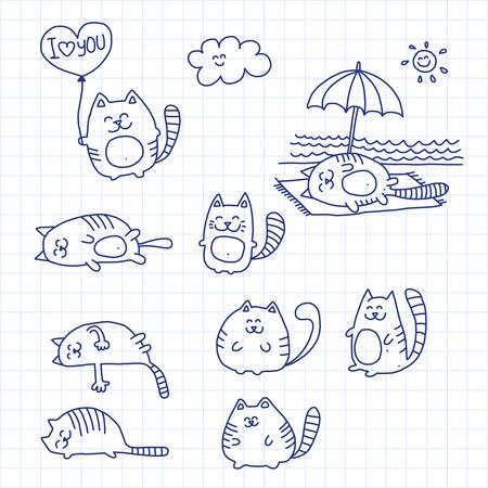 Image sur papier vérifié. Vector illustration avec les chats Banque d'images - 46514974