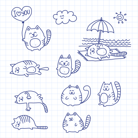 Picture on checked paper.  Vector illustration with cats Vettoriali
