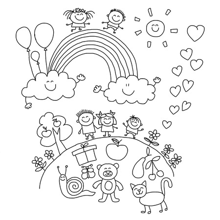 child smile: Vector illustration with kids. Children play in school yard Illustration