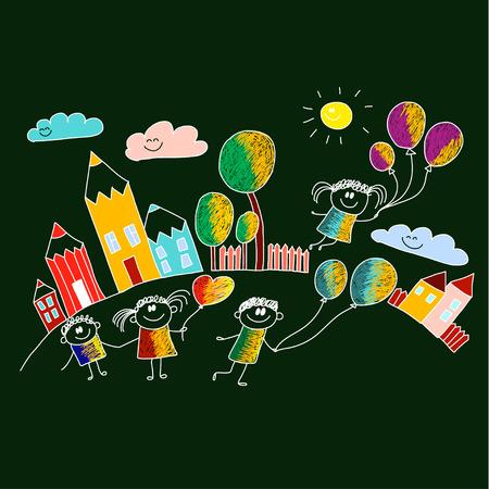 school yard: Vector illustration with kids. Children play in school yard Illustration